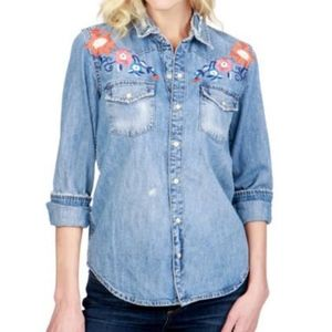 LUCKY BRAND WESTERN DENIM floral embroidery SHIRT